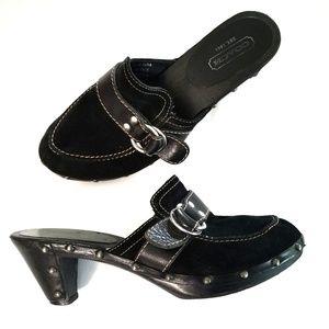 Coach Black Leather Mules Riana heels 9.5